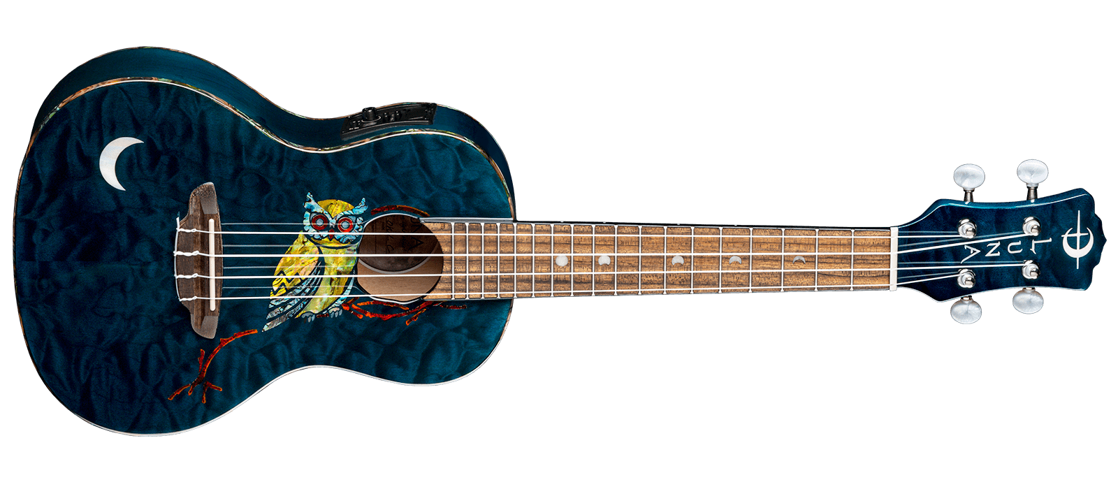 Uke Owl Quilt Top Concert w/Preamp & Gig